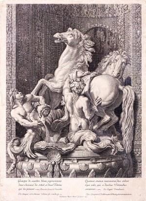 Etienne Baudet - Stephanus (ok. 1638–1711), Konie Apolla pielęgnowane przez dwóch Trytonów, 1675
