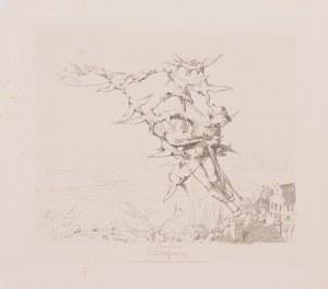 Adolph Schrödter (1805 - 1875, Niemcy), Baron Münchhausen unoszony przez kaczki, ok. 1840