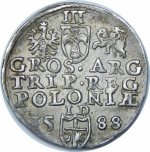 Zygmunt III Waza, Trojak 1588, Olkusz – duża głowa króla