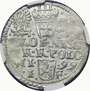 Zygmunt III Waza, Trojak 1599, Olkusz – popiersie z 1598