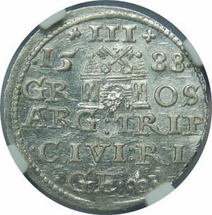 Zygmunt III Waza, Trojak 1588, Ryga – małe popiersie – piękna