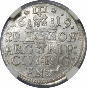 Zygmunt III Waza, Trojak 1619, Ryga – małe popiersie – rzadka i piękna