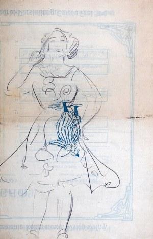 Wlastimil Hofman (1881-1970), Postać śmiejącej się dziewczyny - szkic, ok. 1908