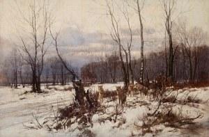 Franciszek Wastkowski (1843 Warszawa – 1900 tamże), Pejzaż zimowy z wilkami, 1892 r.