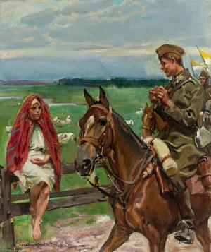 Wojciech Kossak (1856 Paryż - 1942 Kraków), Ułan z gęsiareczką, 1929 r.