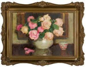 Alfons Karpiński (1875 Rozwadów - 1961 Kraków), Różowe róże w wazonie
