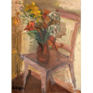 Zygmunt Schreter (1886 Łódź - 1977 Francja), Wazon z kwiatami na krześle