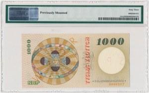 1.000 złotych 1965 - SPECIMEN - A 0000000 - PMG 63