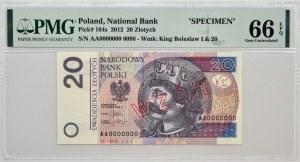 20 złotych 2012 - WZÓR Nr 0096 - AA 0000000 - PMG 66 EPQ