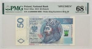 50 złotych 2012 - WZÓR Nr 0096 - AA 0000000 - PMG 68 EPQ