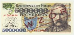 5 milionów złotych 1995 WZÓR - JP 0000000 - seria od Janusz Parchimowicz