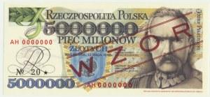 5 milionów złotych 1995 WZÓR - AH 0000000 - seria od Andrzej Heidrich