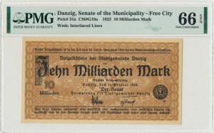 Danzig 10 billion 1923 - Watermark