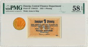 Danzig 1 Pfennig 1923 October - inverted watermark Koga - PMG 58 EPQ