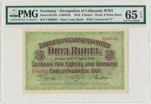Posen 3 rubles 1916 - U - short clause - PMG 65 EPQ