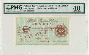 ORBIS, 100 złotych WZÓR B 0000000 - PMG 40 - RZADKI