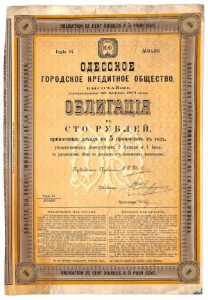 Towarzystwo Kredytowe Miasta Odessy, 5% obligacja, seria 87, 100 rubli