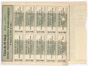 Bank Przemysłowy Warszawski S.A., 10 akcji na okaziciela 5400 marek polskich, Warszawa 1 stycznia 1921