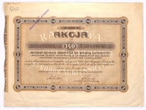 RAKSZAWA Akcyjne Tow. Dla Wyrobów Sukiennych, 140 marek 1921