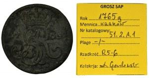 Poniatowski, Grosz Kraków 1765 g - ILUSTROWANY, EKSTREMALNIE RZADKI