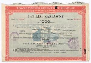 Towarzystwo Kredytowe Ziemskie w Warszawie, 4,5% list zastawny, 1.000 zł