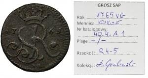 Poniatowski, Grosz Kraków 1765 VG - EKSTREMALNIE RZADKI