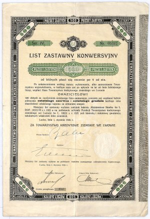 Towarzystwo Kredytowe Ziemskie we Lwowie, 4% list zastawny konwersyjny, 500 zł