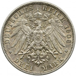 Germany, Bavaria, Otto, 3 mark Munich 1908 D