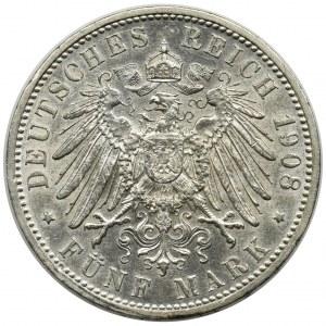 Germany, Baden, Friedrich II, 5 mark Karlsruhe 1908 G