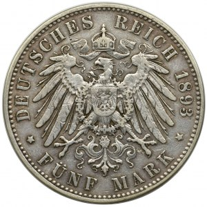 Germany, Saxony, Albert, 5 mark Muldenhütten 1893 E