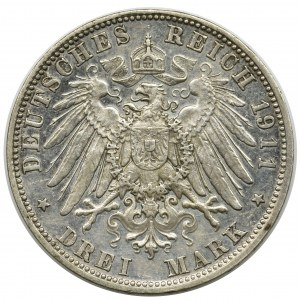 Germany, Bavaria, Otto, 3 mark Munich 1911 D