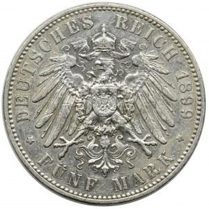 Germany, Saxony, Albert, 5 mark Muldenhütten 1899 E