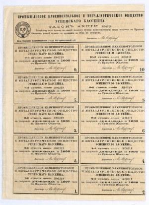 Towarzystwo Węglowo-Hutnicze Zagłębia D'ouspensk, akcja 250 rubli, 1896