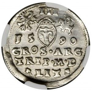 Sigismund III Vasa, 3 Groschen Vilnius 1590 - NGC AU58 - RARE