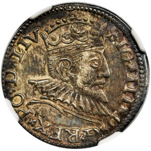 Zygmunt III Waza, Trojak Ryga 1591 - NGC MS62 - LIV