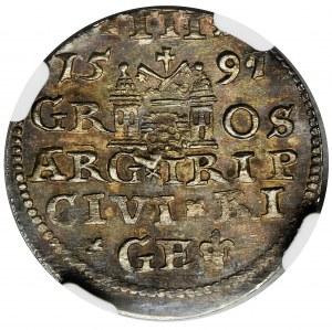 Sigismund III Vasa, 3 Groschen Riga 1591 - LIV - NGC MS62 - LIV