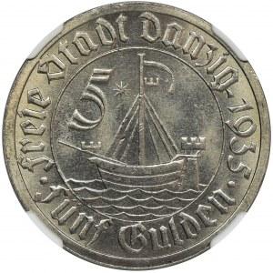 Free City of Danzig, 5 gulden 1935 - NGC MS66