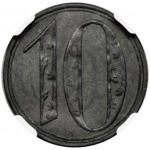 Free City of Danzig, 10 pfennig 1920 - LARGE 10 - NGC MS61 - RARE