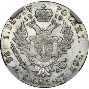 Polish Kingdom, 1 zloty Warsaw 1818 IB - NGC AU58