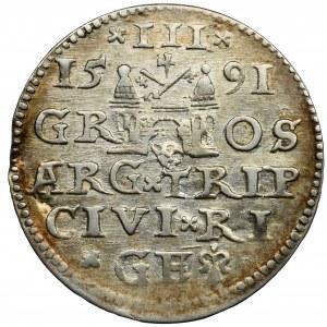 Sigismund III Vasa, 3 Groschen Riga 1591