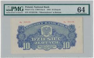 10 złotych 1944 ...owe - Ay - PMG 64
