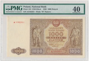 1.000 złotych 1946 - A z kropką - PMG 40 - rzadsza odmiana