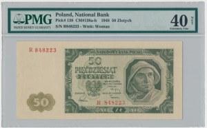 50 złotych 1948 - R - PMG 40 - RZADKA