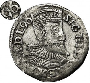 Zygmunt III Waza, Trojak Poznań 1596 - data na awersie - RZADSZY