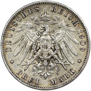Germany, Saxony, Friedrich August III, 3 mark Muldenhütten 1909 E