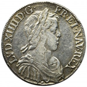 France, Louis XIV, 1/2 écu à la mèche longue Aix-en-Provence 1651 - RARE