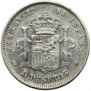 Hiszpania, Alfons XII, 5 peset Madryt 1884 MS-M