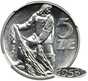 5 złotych 1958 Rybak - BAŁWANEK - NGC MS66 - z efektem lustrzanki - ZJAWISKOWA