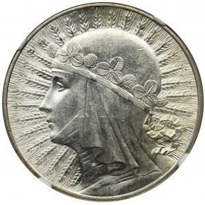 Głowa Kobiety, 10 złotych Warszawa 1932 - NGC MS62+