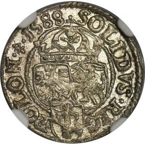 Zygmunt III Waza, Szeląg Olkusz 1588 - NGC MS63